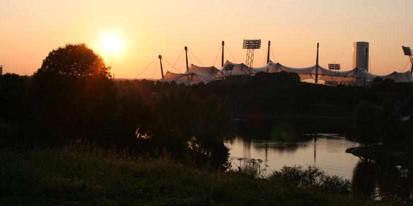 Olypiageläne Sonnenuntergang